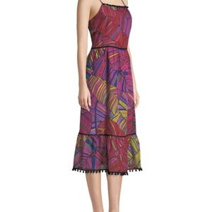 Scoop-Neck Sleeveless Multicolor Palm-Print Maxi D